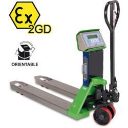 Transpalette peseur ATEX, portée max. 2500 kg, précision depuis 200 g — Balance Milliot