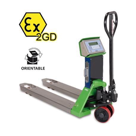 Transpalette peseur ATEX, portée max. 2500 kg, précision depuis 200 g